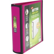 2 Staples® Better® View Binders with D-Rings, Fushia