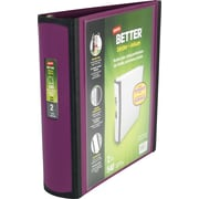 2 Staples® Better® View Binders with D-Rings, Plum