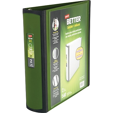 2in. Staples® Better® View Binders with D-Rings, Olive