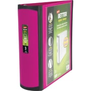3 Staples® Better® View Binders with D-Rings, Fuchsia