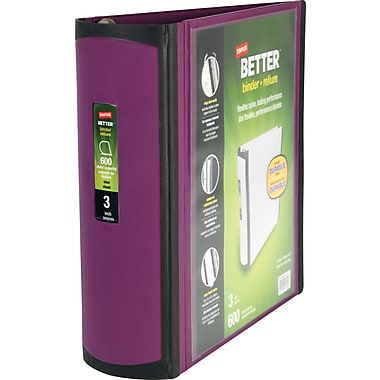 3in. Staples® Better® View Binders with D-Rings, Plum