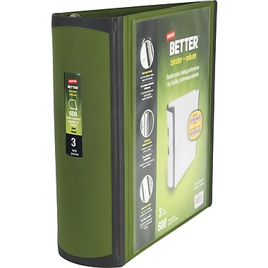 3in. Staples® Better® View Binders with D-Rings, Olive