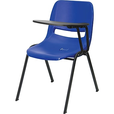 Flash Furniture Ergonomic Shell Chair, Blue Left Handed Flip-Up Tablet Arm
