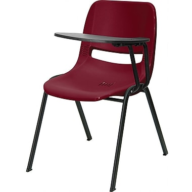 Flash Furniture Ergonomic Shell Chair, Left Handed Flip-Up Tablet Arm, Burgundy, 2/Pack