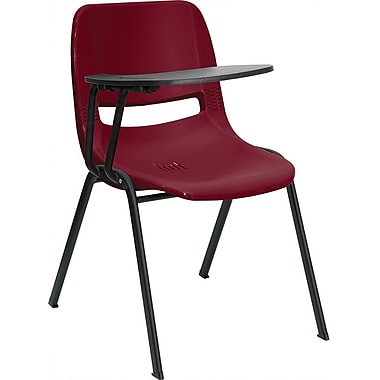 Flash Furniture Ergonomic Shell Chair, Right Handed Flip-Up Tablet Arm, Burgundy, 2/Pack