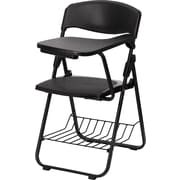 Flash Furniture Plastic Chair with Book Basket, Left Handed Tablet Arm, Black, 4/Pack
