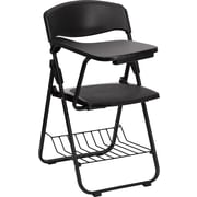 Flash Furniture Plastic Chair with Book Basket, Right Handed Tablet Arm, Black, 4/Pack