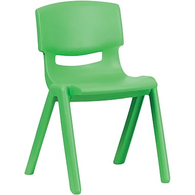 Flash Furniture Plastic Stackable School Chair with 13.25'' Seat Height, Green, 4/Pack