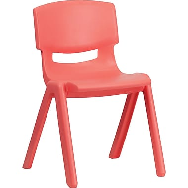 Flash Furniture Plastic Stackable School Chair with 13.25'' Seat Height, Red, 4/Pack