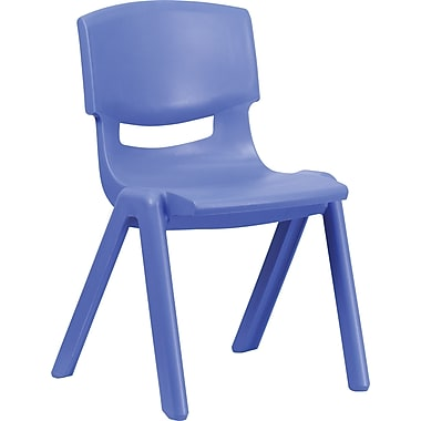 Flash Furniture Polypropylene Plastic Stackable School Chair with 15 1/2in. Seat Height, Blue