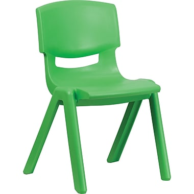 Flash Furniture Polypropylene Plastic Stackable School Chair with 15 1/2in. Seat Height, Green