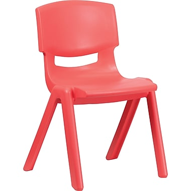 Flash Furniture Polypropylene Plastic Stackable School Chair with 15 1/2in. Seat Height, Red