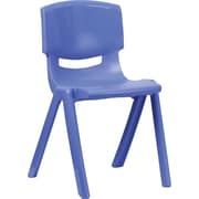 Flash Furniture Plastic Stackable School Chair with 18'' Seat Height, Blue, 4/Pack