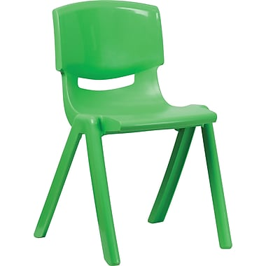 Flash Furniture Plastic Stackable School Chair with 18'' Seat Height, Green, 4/Pack