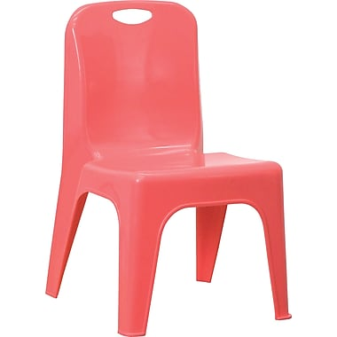 Flash Furniture Plastic Stackable School Chair with Carrying Handle and 11'' Seat Height, Red, 4/Pack