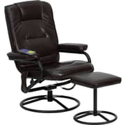 Flash Furniture Massaging Leather Recliner and Ottoman with Metal Bases, Brown