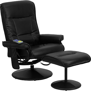Flash Furniture Leather Massaging Recliner, Black