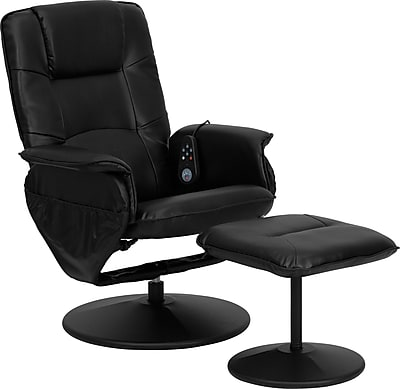 Flash Furniture Massaging Leather Recliner and Ottoman with Metal Bases, Black 130018