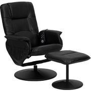 Flash Furniture Massaging Leather Recliner and Ottoman with Metal Bases, Black