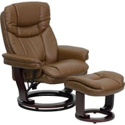 Flash Furniture Contemporary Leather Recliner and Ottoman with Swiveling Mahogany Wood Base, Palimino