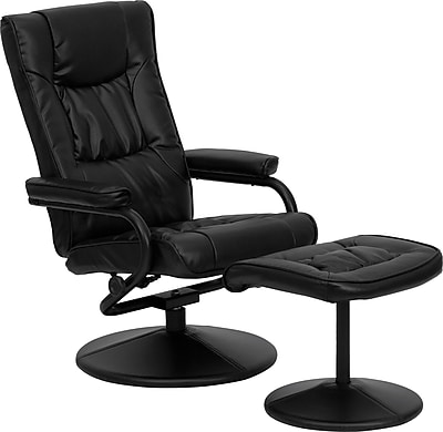 Flash Furniture Contemporary Leather Recliner and Ottoman with Leather Wrapped Base, Black 130023