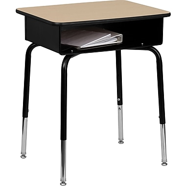 Flash Furniture Student Desk with Open Front Metal Book Box, Natural Laminate/Black