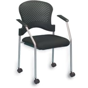 Raynor Eurotech Fabric Seat Breeze 4 Leg Side Chair with Caster, Grey