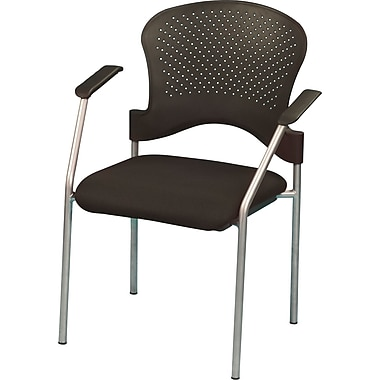 Raynor Eurotech Fabric Seat Breeze 4 Leg Side Chair, Grey Frame, Black