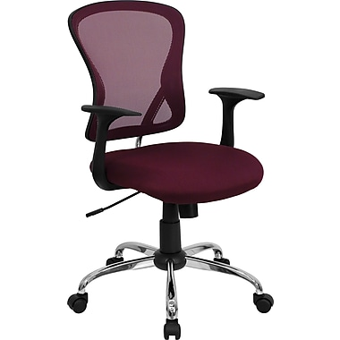 Flash Furniture Mid-Back Mesh Task Chair with Nylon Arms and Chrome Base, Burgundy