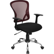 Flash Furniture Mid-Back Mesh Task Chair with Chrome Base, Burgundy and Black