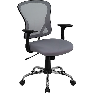 Flash Furniture H-8369F-GY-GG Mesh Mid-Back Executive Chair with Fixed Arms, Gray