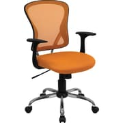 Flash Furniture H-8369F-ORG-GG Mesh Mid-Back Executive Chair with Fixed Arms, Orange