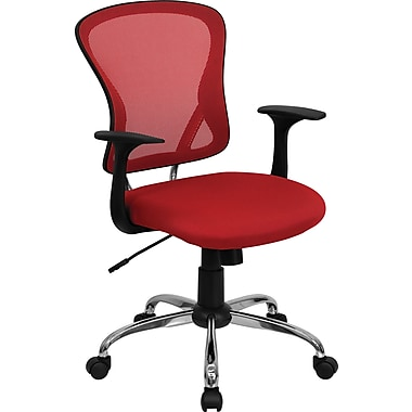 Flash Furniture H-8369F-RED-GG Mesh Mid-Back Executive Chair with Fixed Arms, Red