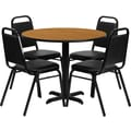 Flash Furniture 36'' Round Natural Laminate Table w/ 4 Black Trapezoidal Back Banquet Chairs,Black
