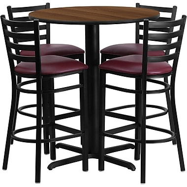 Flash Furniture Round Walnut Laminate Table Set with 4 Ladder Back Metal Bar Stool, Burgundy