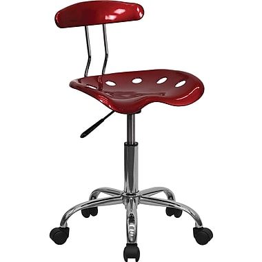 Flash Furniture Vibrant Computer Stool with Tractor Seat, Wine Red