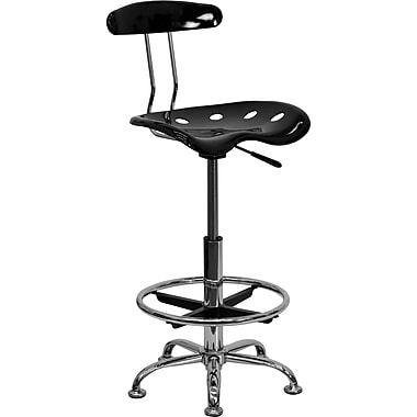 Flash Furniture Vibrant Chrome Drafting Stool with Tractor Seat, Black