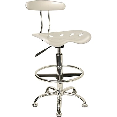 Flash Furniture Vibrant Chrome Drafting Stool with Tractor Seat, Silver
