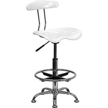 Flash Furniture Vibrant Chrome Drafting Stool with Tractor Seat, White