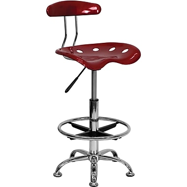 Flash Furniture Vibrant Chrome Drafting Stool with Tractor Seat, Wine Red