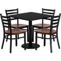 Flash Furniture Square Black Laminate Table Set with 4 Ladder Back Metal Chair, Cherry
