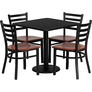 Flash Furniture 30'' Square Black Laminate Table Set with Round Base and 4 Ladder Back Metal Chairs, Cherry Wood Seat