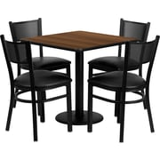 Flash Furniture 30'' Square Walnut Laminate Table Set with Round Base and 4 Grid Back Metal Chairs, Black Vinyl Seat
