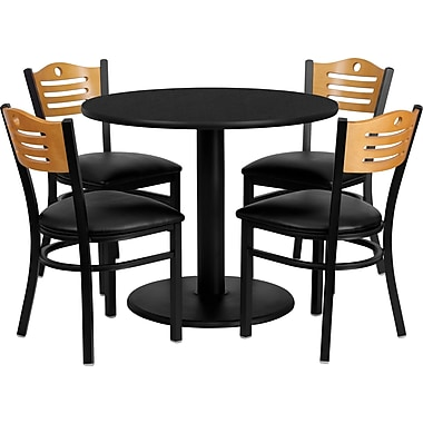 Flash Furniture 36'' Round Black Laminate Table Set with Round Base and 4 Wood Slat Back Metal Chairs, Black Vinyl Seat