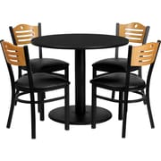Flash Furniture Round Black Laminate Table Set with 4 Wood Slat Back Metal Chair, Black and Natural