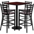 Flash Furniture 30'' Square Mahogany Laminate Table Set with Round Base and 4 Ladder Back Metal Bar Stools, Mahogany Wood Seat