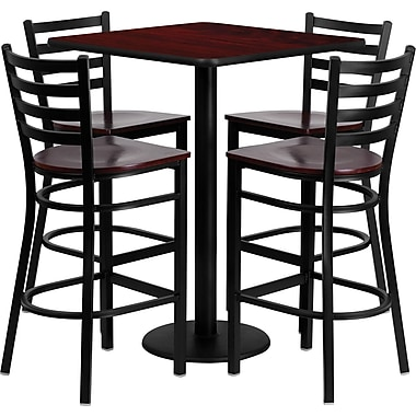 Flash Furniture 30'' Square Laminate Table Set with 4 Ladder Back Metal Bar Stool,Mahogany Wood Seat