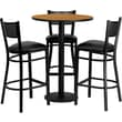 Flash Furniture 30'' Round Natural Laminate Table Set with Round Base and 3 Grid Back Metal Bar Stools, Black Vinyl Seat