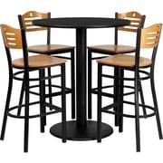 Flash Furniture 36'' Round Black Laminate Table Set with Round Base and 4 Wood Slat Back Metal Bar Stools, Natural Wood Seat