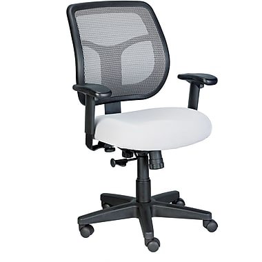 Eurotech Seating MT9400-SILVER Apollo Fabric Mid-Back Task Chair with Adjustable Arms, Silver